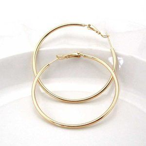 Jewelry - 18K Yellow Gold Filled Smooth Hoop Earrings 45mm